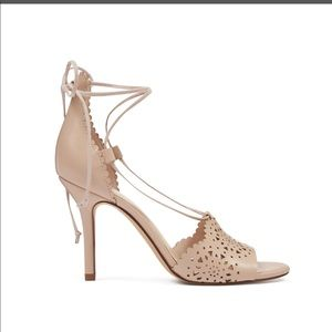 NINE WEST Nude Ankle Strap Sandal Heel